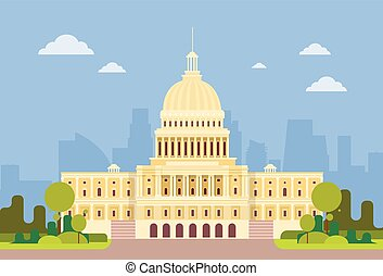 建物, 合併した, 国会議事堂, 上院, 家, ワシントン, 州, アメリカ