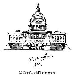 建物, 合併した, 国会議事堂, dc, 州, ワシントン