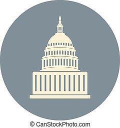建物, 合併した, 国会議事堂, washington d.c., 州, ベクトル, 丘, アイコン
