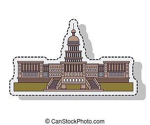 建物, 国会議事堂, アメリカ, 隔離された, イラスト, ベクトル, デザイン