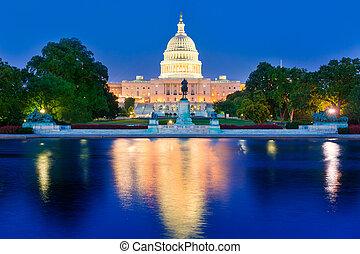 建物, 国会議事堂, 議会, ワシントン, DC, 日没