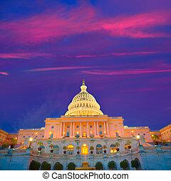 建物, 国会議事堂, 議会, washington d.c., 私達, 日没