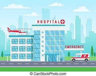 建物, 地位, 大きい, 道, 窓, 病院, 救急車, イラスト, 医院, ベクトル, 屋根, 自動車, ヘリコプター, 医学, サービス