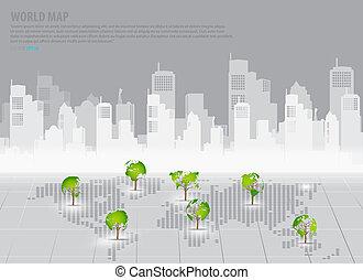 建物, 地図, 概念, 形づくられた, 木, 背中, 緑, 世界, :, 経済