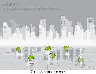 建物, 地図, 概念, illustration., 形づくられた, 木, バックグラウンド。, ベクトル, 緑, 世界...