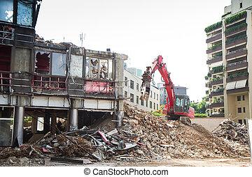 建物, 坑夫, クレーン, 破壊, 仕事