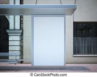 建物, 型, 現代, wall., ベージュ, 広告板