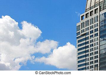 建物, 壁, 空, 反映された, 曇り, ガラス