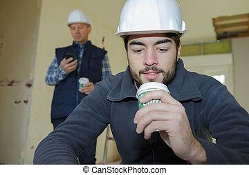 建物, 壊れなさい, コーヒー, 持つこと, 測量技師