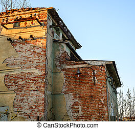建物, 変圧器, 古い, 捨てられた