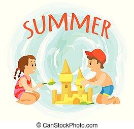 建物, 夏季休暇, 砂の 城, 子供