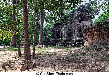 建物, 夏, 古代, angkor wat, 風景
