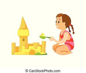 建物, 夏, 砂, 大さじ, 城浜, 女の子