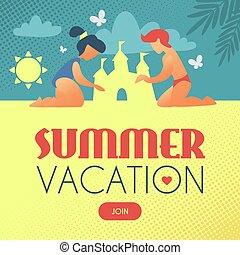 建物, 夏, vacation., 日当たりが良い, 子供, 砂, レトロ, 城浜, style.