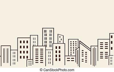 建物, 大きい, シルエット, 都市, 多数