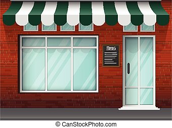 建物, 大きい, 窓, デザイン, れんが, 店