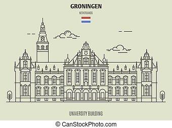 建物, 大学, ランドマーク, netherlands., groningen, アイコン