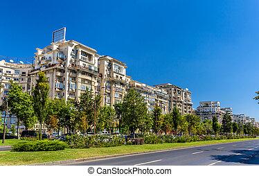 建物, 大通り, 住宅の, -, ルーマニア, unirii, bucharest