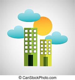 建物, 太陽, 雲, きれいにしなさい, 環境