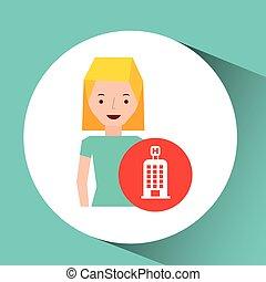 建物, 女の子, 旅行者, 漫画, グラフィック, ホテル, デザイン