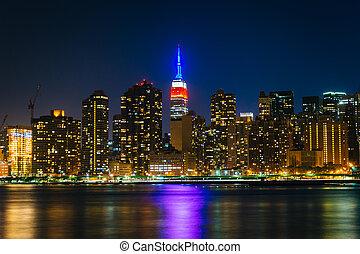 建物, 女王, ガントリー, 都市, 島, プラザ, 長い間, 公園, 州, york., 新しい, 帝国, 光景