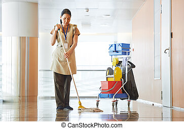 建物, 女, 清掃, ホール
