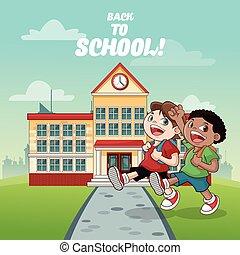 建物, 学校の 子供, デザイン, 背中