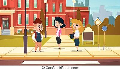 建物, 学校, グループ, 生徒, 生徒, 予備選挙, 話し, 立ちなさい, 学童, 前部