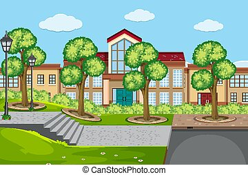 建物, 学校, 屋外, 現場