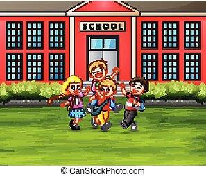 建物, 学校, 概念, 生徒, 背中, 前部, バックパック