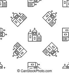 建物, 宗教, バックグラウンド。, ベクトル, キリスト教徒, seamless, 灰色, アイコン, church., 隔離された, ラインパターン, イラスト, 白, 教会