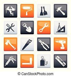 建物, 定型, 色, 上に, アイコン, 仕事の道具, 背景, 建設