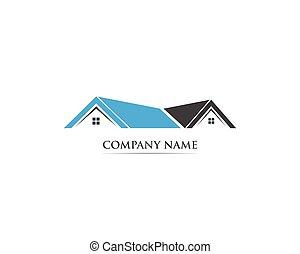 建物, 家, ベクトル, テンプレート, ロゴ