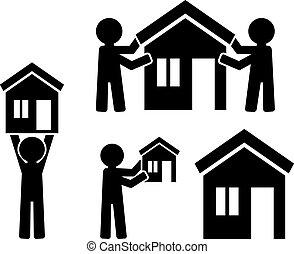 建物, 家, 人々, 数字, アイコン