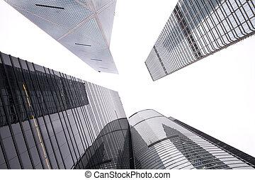 建物, 将来, 超高層ビル, ビジネス, 現代, 新しい, 光景, 中心