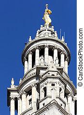 建物, 市ホール, 都市, ニューヨークシティ, オペレーション, 中心