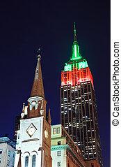 建物, 帝国, 夜, 州, 光景