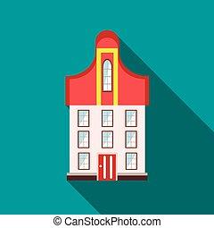 建物, 平ら, スタイル, 3階建てである, アイコン