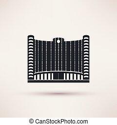 建物, 平ら, スタイル, concept., ベクトル, 銀行