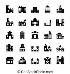 建物, 平ら, セット, アイコン, ベクトル, style.