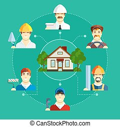 建物, 平ら, セット, アイコン, house., 職業