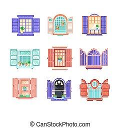 建物, 平ら, セット, 木製の家, 窓, doors., 主題, ベクトル, フレーム, 建設, exterior., 要素