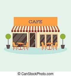 建物, 平ら, レストラン, イラスト, ベクトル, カフェ, アイコン