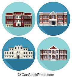建物, 平ら, 学校