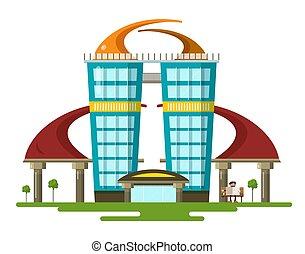 建物, 平ら, 抽象的, 現代, ベクトル, デザイン