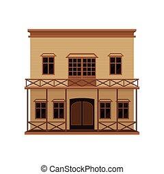 建物, 平ら, 振動, アイコン, 木製である, 大きい, two-storey, porch., ベクトル, balcony., ドア, 家, 木, 西部