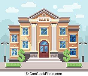 建物, 平ら, 概念, 金融, ビジネス, ベクトル, cityscape., 銀行