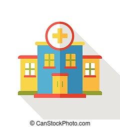 建物, 平ら, 病院, アイコン