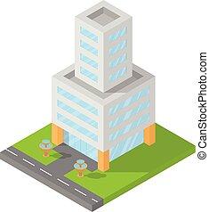 建物, 平ら, 等大, オフィス, イラスト, ベクトル, デザイン, ブロック, 3d