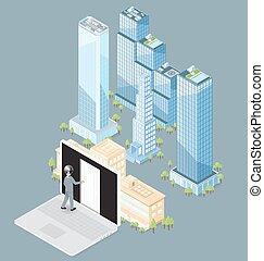 建物, 平ら, 等大, オフィス, ベクトル, 3d